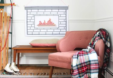 This Faux Fireplace Tapestry is the Unexpected Decoration Your Home Needs
