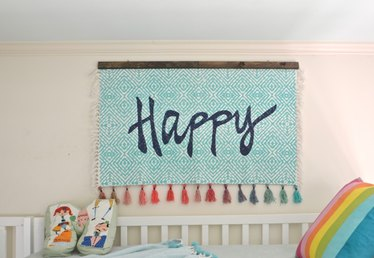 How to Make Wall Art Using a Throw Rug
