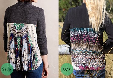 DIY Pleated Fabric-Back Sweater