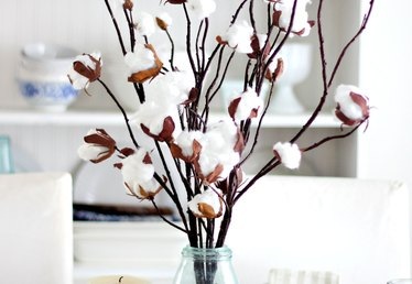 How to Make a Faux Cotton Branch Centerpiece