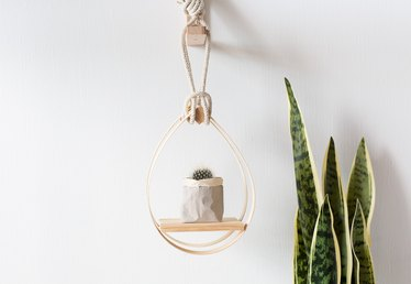 DIY Mid-Century Modern Hanging Teardrop Planter Shelf