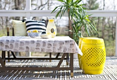 DIY Potato Stamped Tablecloth