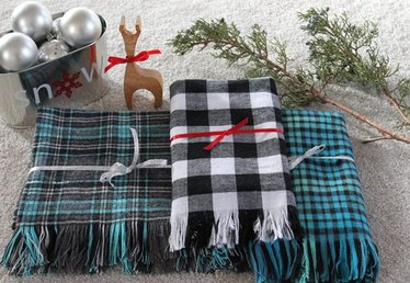 Easy to Make Plaid Flannel and Fringe Scarf