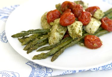 Sheet Pan Chicken with Pesto, Asparagus and Cherry Tomatoes