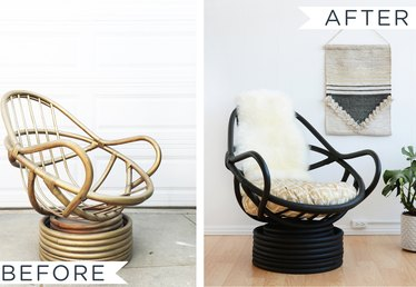 How to Paint a Wicker Chair (With a Sheepskin Seat Back)