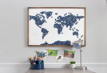 DIY Upcycled Puzzle Map Wall Art