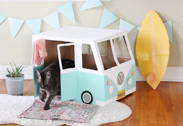 Cardboard Bus Cat House Tutorial