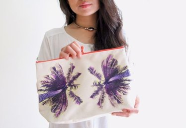 DIY Palm Tree Print Canvas Pouch