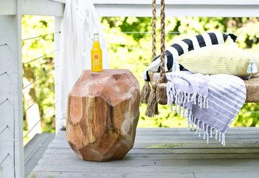 How to Make a Geometric Log Side Table for Your Patio
