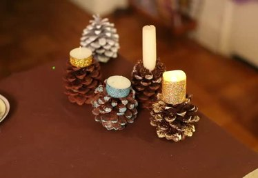 Making Pine Cone Candle Holders