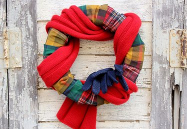 How to Make a Cozy Wreath with Flannel and a Scarf