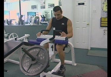 Using a Seated Calf Exercise Machine at the Gym
