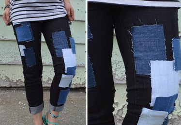 No Sew Patchwork Jeans
