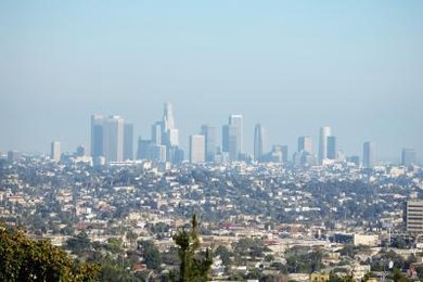 Smog settles over Los Angeles.