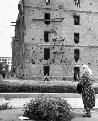 A flour mill damaged during the Battle of Stalingrad (now Volgograd) bears witness to the furious fighting there.