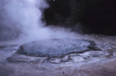 As a geyser boils, water changes state from a liquid to a gas.