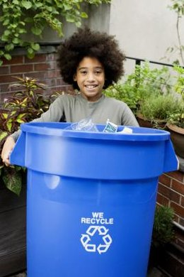 Ask fifth graders to set up recycle bins around the school and fill them at home.