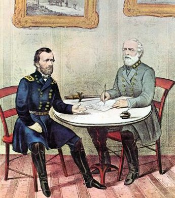 Gen. Ulysses S. Grant (left) and Gen. Robert E. Lee met at Appomattox Court House at the end of the Civil War.