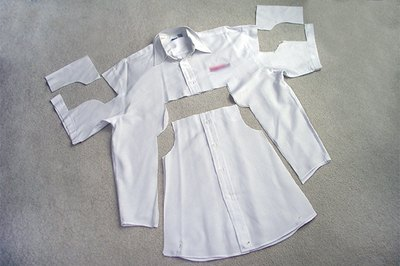 Cut the pattern pieces from the shirt.
