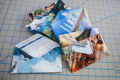 Recycle your old calendars into envelopes for one-of-a-kind stationery.