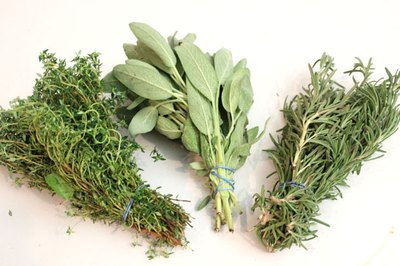 Bundle herbs with rubber bands