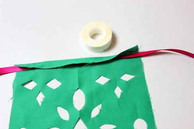 Attach flag to ribbon