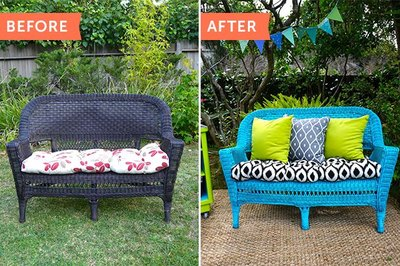 Add a pop of color to your outdoor space with a bright wicker chair.