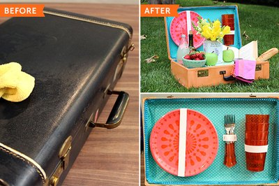 Turn a suitcase into a picnic basket