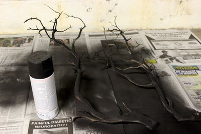 Spray paint the branch