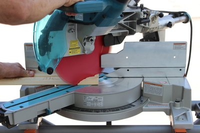 Cut casing pieces with a miter saw.