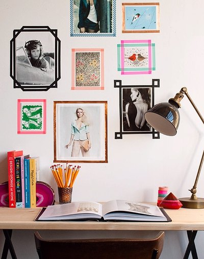 Washi tape creates colorful faux frames and designs on the wall.