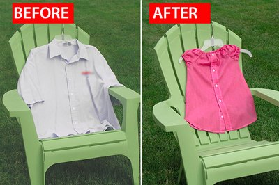 Turn unused men's shirts into dresses.