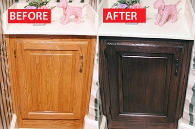 Dated honey oak cabinets get a modern makeover.