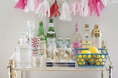 A styled bar cart can bring a little revelry into your home.