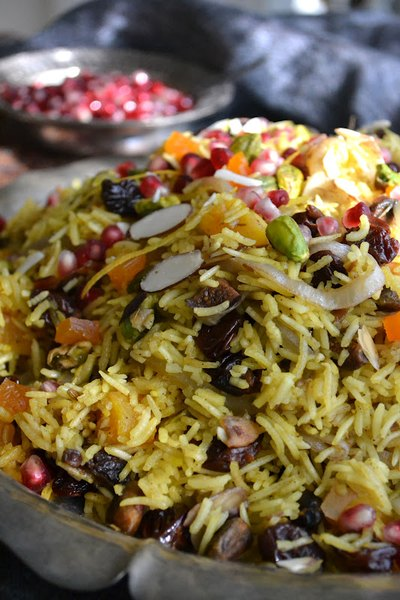 Pomegranate-studded rice makes for a festive side dish!