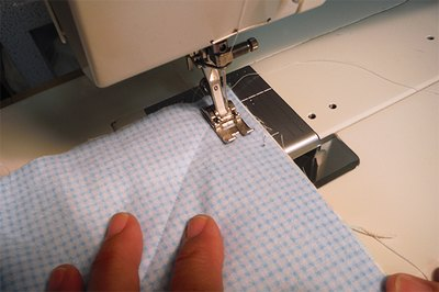 Sew corner to corner, along marked lines.