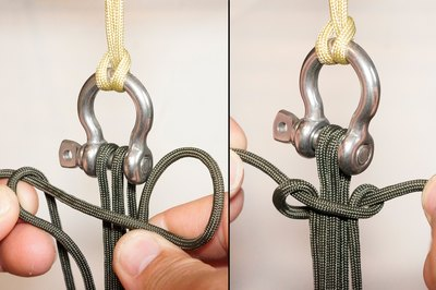 Starting half-knot, work right to left.