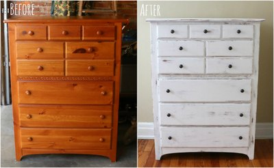 A shabby chic dresser adds vintage charm to any space.
