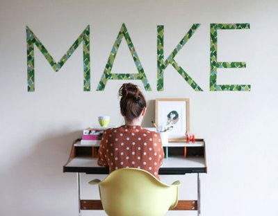 Make your own removable wall decals from fabric.