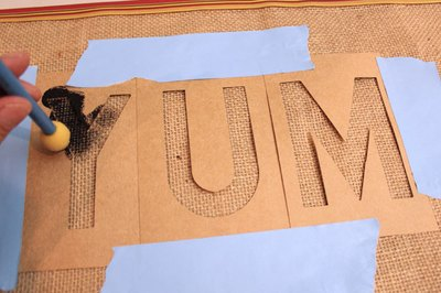 Stencil letters onto placemat