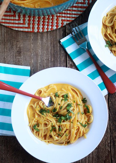 Because every pasta could use a creamy pumpkin sauce.