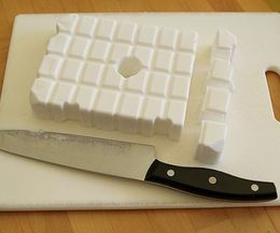 Break apart the soap with a knife.
