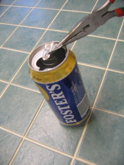 Tear off the top of the can