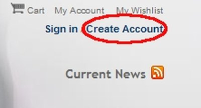 Link at upper right to Create Account