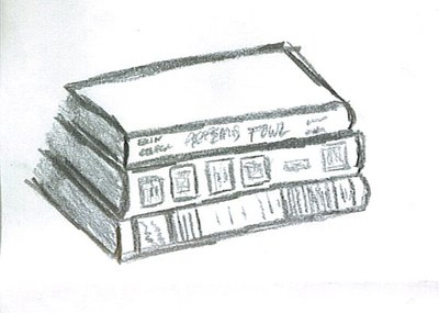 A drawn stack of books.