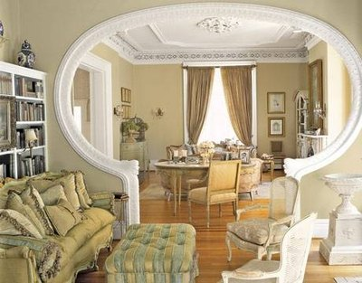 An archway framed in crown molding.