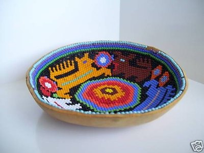 Authentic Huichol beaded bowls are made from gourds