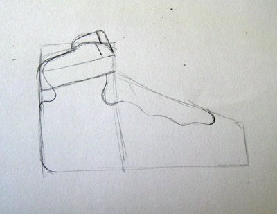 Draw the top and back of the shoe.