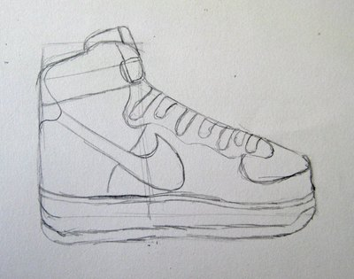 Draw the shoelaces and the sole of the Nike Air Force Ones.