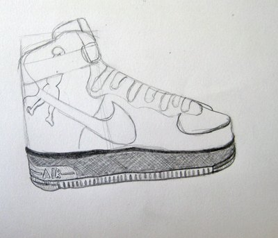 Color In The Sole Of The Shoe And Sketch Out The Man On The Side Of